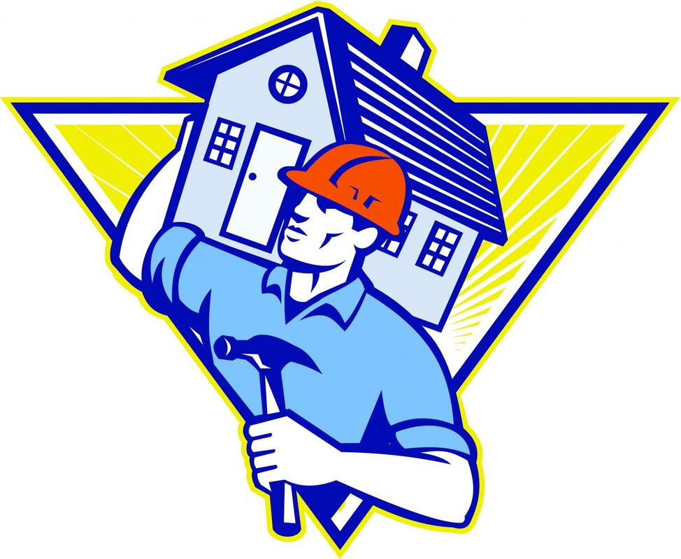 Construction worker carrying house on shoulder as a sign of protection